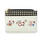 小禮堂 Hello Kitty 皮質拉鍊票卡零錢包 票卡夾 證件夾 小物包 (米 2021新生活) 4550337-40272