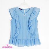 【SHOWCASE】休閒皺紗荷葉袖上衣(藍)