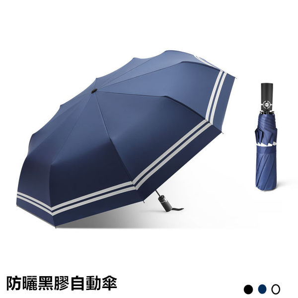 防紫外線自動開合雨傘(附傘套) 台灣現貨 抗UV 10骨黑膠不透光線條自動傘 抗強風  tw79321