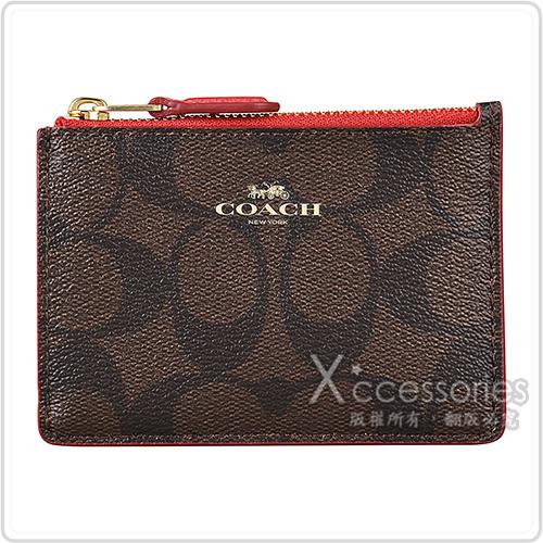 COACH經典燙金LOGO PVC印花吊飾拉鍊證件/卡夾零錢包(深咖啡x紅)