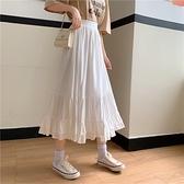 半身裙2021新款春夏季中長款高腰A字裙設計感荷葉邊初戀白色裙子 黛尼時尚精品