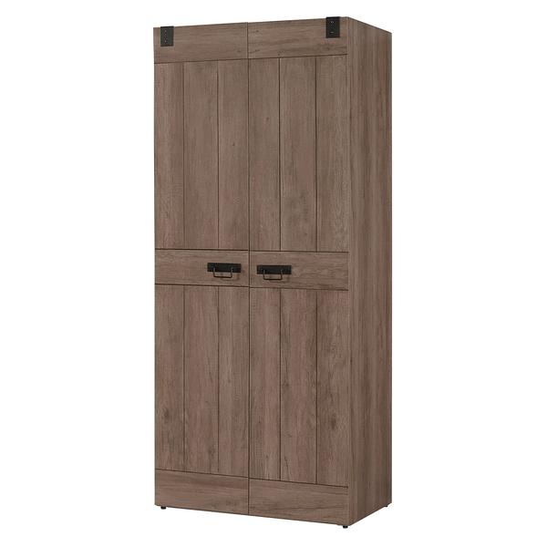 【森可家居】哈珀2.7尺衣櫥(單吊) 8CM552-4 衣櫃 木紋質感