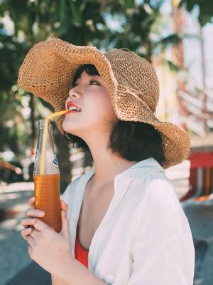 正韓出游沙灘大檐草帽正韓夏天海邊可摺疊遮陽帽子女士防曬太陽帽  雙12八七折