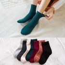 襪子女中筒襪黑色棉襪純色韓國長襪春秋冬季中腰純棉