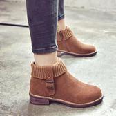 英倫風磨砂粗跟短靴毛線口加絨馬丁靴學生短筒女 格蘭小舖