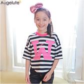 短袖上衣小孩款 親子裝 條紋 短版 T恤 母女裝 Augelute 47105