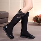 彈力布女靴夏秋單靴百搭蕾絲休閑平底長靴女內增高中筒靴