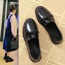 小皮鞋女加絨豆豆中跟黑色工作平底英倫風單鞋軟皮樂福鞋冬季 【端午節特惠】