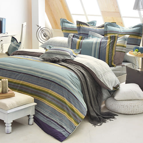義大利La Belle《亞曼時光》特大四件式防蹣抗菌舖棉兩用被床包組