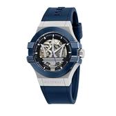 MASERATI 瑪莎拉蒂 經典藍色矽膠鏤空機械腕錶42mm(R8821108028)