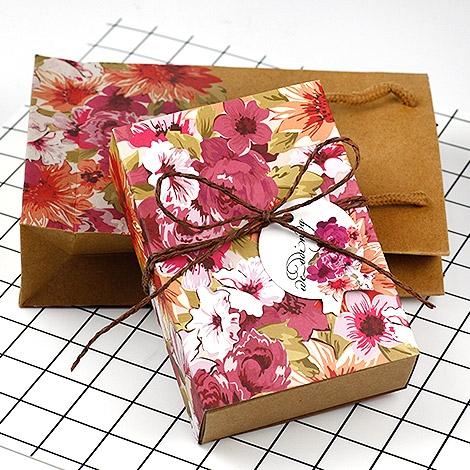 幸福婚禮小物❤DIY牛皮紙花朵禮物盒+提袋組❤包裝材料/DIY材料/禮物盒/包裝/紙盒/提袋