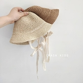 ins網紅寶寶蕾絲繫帶草帽韓國兒童遮陽帽春夏嬰兒女小童草編帽子 小天使