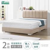 IHouse-艾麗卡 線條厚面貓抓皮(床頭+四抽底)房間2件 雙人5尺太平藍#707-61