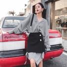 長袖洋裝(兩件套)-格子不規則剪裁秋季女連身裙73yh15[巴黎精品]