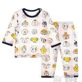 睡衣 竹纖維嬰兒寶寶空調服兒童睡衣男女童棉綢套裝薄款家居服長袖夏裝 童趣屋