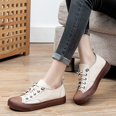 真皮手工女鞋 系帶平底鞋 低幫運動鞋/2色-夢想家-標準碼-0401