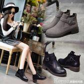 踝靴 歐美春秋短靴女粗跟圓頭馬丁靴復古學生切爾西靴短筒單靴踝靴〖韓國時尚週〗