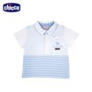 chicco-高球俱樂部-條紋剪接有領短袖上衣