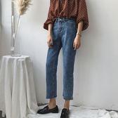 韓風個性撕邊復古單寧牛仔褲女百搭半鬆緊腰九分褲 伊衫風尚