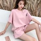 運動套裝 休閒運動套裝女夏大碼寬鬆短袖短褲棉質跑步運動服氣質兩件套-Ballet朵朵