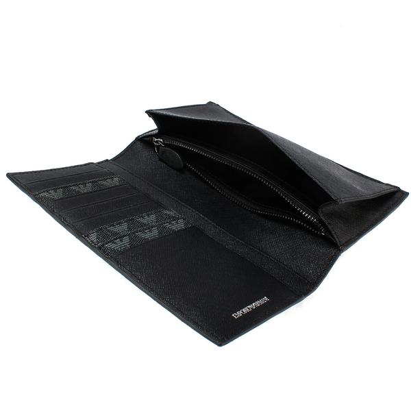 Emporio Armani 滿版LOGO防水PVC多卡長夾(黑灰色)102120
