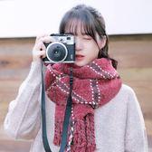 日系韓版格子圍巾女加厚長款保暖學生情侶圍脖百搭披肩 露露日記