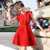 夏季新款女裝韓版收腰顯瘦荷葉邊時尚氣質無袖洋裝 LR993【歐巴生活館】