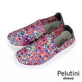 【Pelutini】donna時尚彈性編織休閒運動鞋  彩色(8455W-PIN)