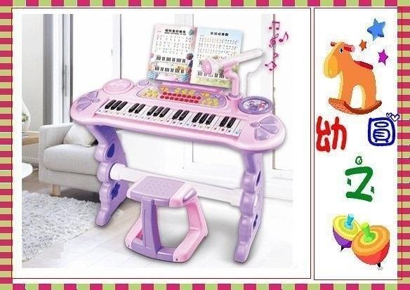 *幼之圓*連環指K1電子琴~兒童仿真鋼琴~附琴椅+麥克風+耳機+彩色練習樂譜+琴鍵貼紙