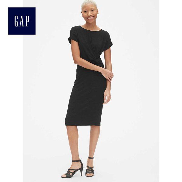 Gap女裝 柔軟短袖扭花系結中長款洋裝 418635-純正黑
