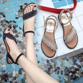 夏季新款時尚潮流一字帶羅馬休閒夾趾水鉆平底涼鞋 DN12209【潘小丫女鞋】