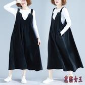 大碼長洋裝胖mm春裝寬鬆V領純色無袖燈芯絨背帶裙顯瘦大擺連身裙 LF1591【花貓女王】