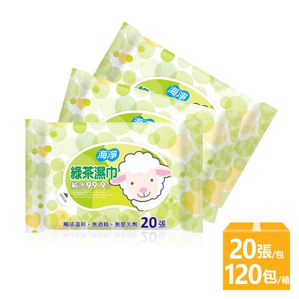 海淨 純水濕紙巾20抽(綠茶)x120包 整箱超值購