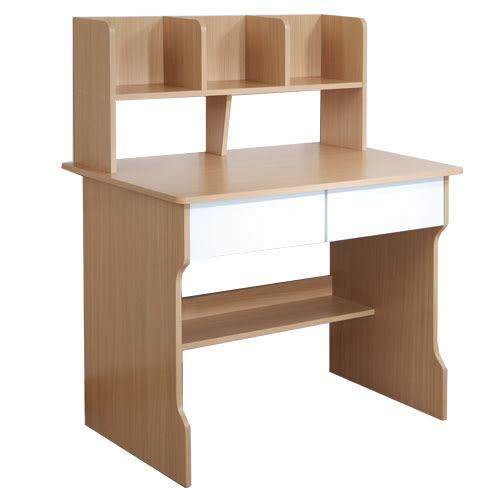 書桌 電腦桌【收納屋】木紋雙抽書架式學生書桌&DIY組合傢俱
