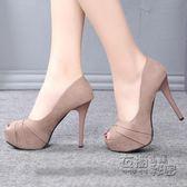 高跟鞋歐洲站魚嘴細跟套腳淺口高跟鞋春季新款時尚百搭女鞋原宿單鞋 衣櫥の秘密