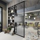 LOFT現代簡約鐵藝網格屏風餐客廳辦公室隔斷置物架裝飾書櫃背景牆 艾莎YYJ