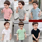 嬰兒V領短袖T恤男童裝兒童寶寶小童上衣【時尚大衣櫥】