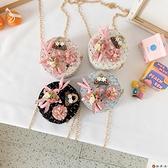 側背包公主時尚女童小圓包兔子玩偶【淘夢屋】