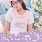 上衣 Hello Kitty x Ruby 聯名款.圓領蝴蝶結刺繡花朵短袖上衣-Ruby s 露比午茶