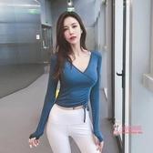 運動上衣 秋冬新款瑜珈健身服修身顯瘦V領運動上衣女長袖T恤透氣跑步速幹衣 3色