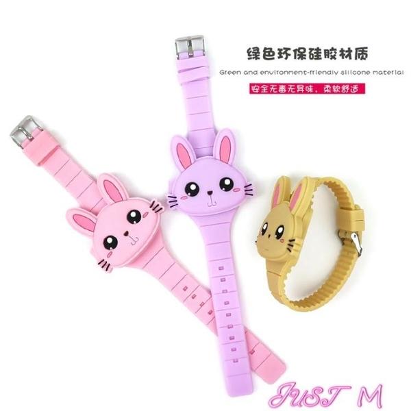 兒童手錶手錶小孩子女中小學生兒童手錶電子錶卡通KT貓咪硅膠女孩錶 JUST M