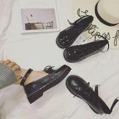 日系原宿復古圓頭英倫學院風鬆糕厚底淺口單鞋學生娃娃小皮鞋女夏   花間公主
