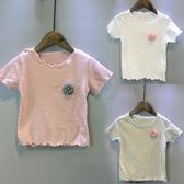 兒童短袖T恤女童夏季新款韓版童裝花朵木耳邊打底短袖t恤百搭 快速出貨