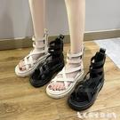 羅馬涼鞋 夾趾涼鞋女仙女風2021夏季新款鬆糕厚底高幫鏤空羅馬沙灘夾腳涼靴 艾家