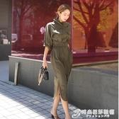 秋裝新款韓版復古氣質立領收腰中長款開叉休閒襯衫式洋裝潮 時尚