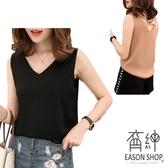 EASON SHOP(GW0924)韓簡約純色露背後背交叉挖洞薄款短版V領無袖雪紡背心女上衣服寬鬆顯瘦內搭衫黑色
