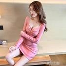 夜店洋裝修身長袖打底裙氣質性感低胸緊身包臀洋裝女 快速出貨