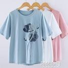 媽媽T恤上衣 夏新款簡約純棉短袖t恤女中年媽媽顯瘦寬鬆大碼印花遮肚上衣 阿薩布魯