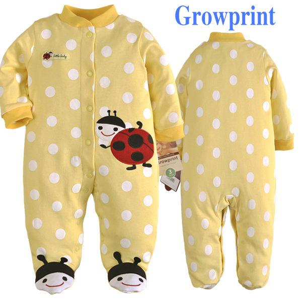 長袖連身兔裝 鵝黃點點瓢蟲貼布 全開扣寶寶連身包腳衣.連身衣~EMMA商城