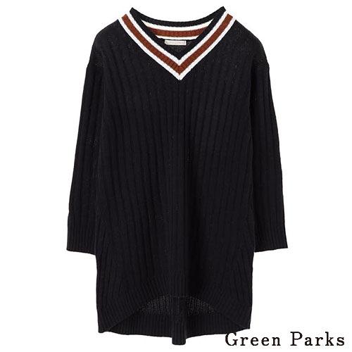 「Hot item」拼色V領長版寬鬆針織上衣 - Green Parks